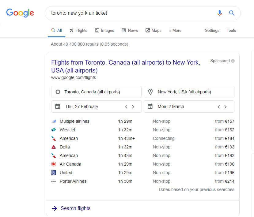 Google Flights shown at the search page rate airlines by price