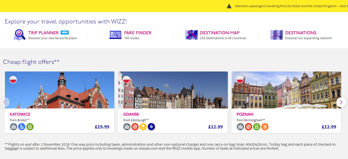 A roster of special prices given by WizzAir low-cost airline on their website