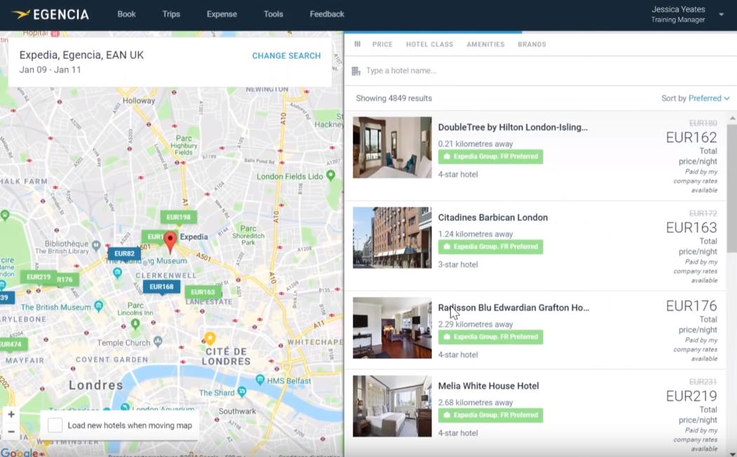 Egencia booking platform dashboard