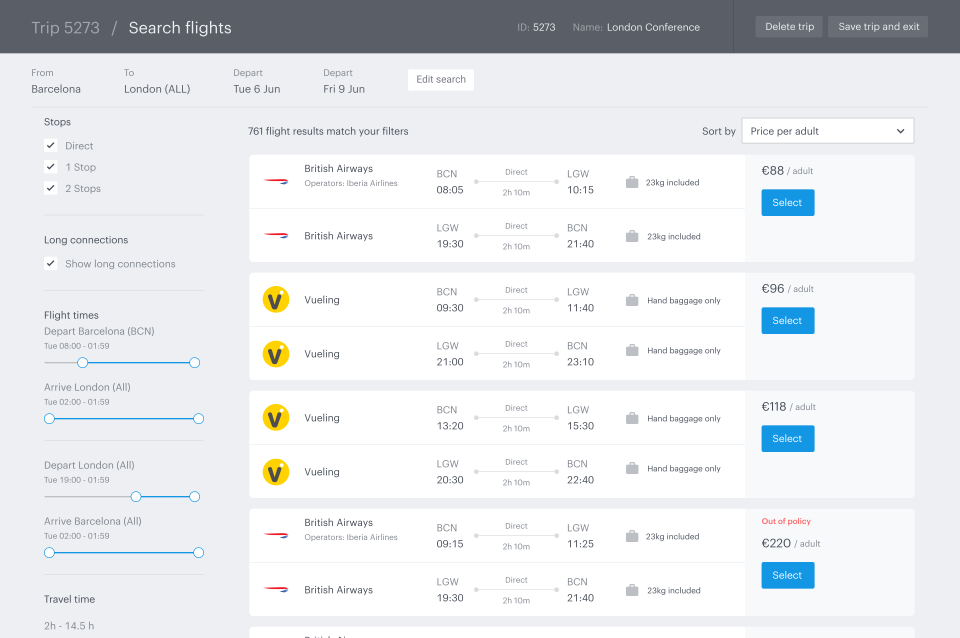 Search Flight functionality by Travel Perk