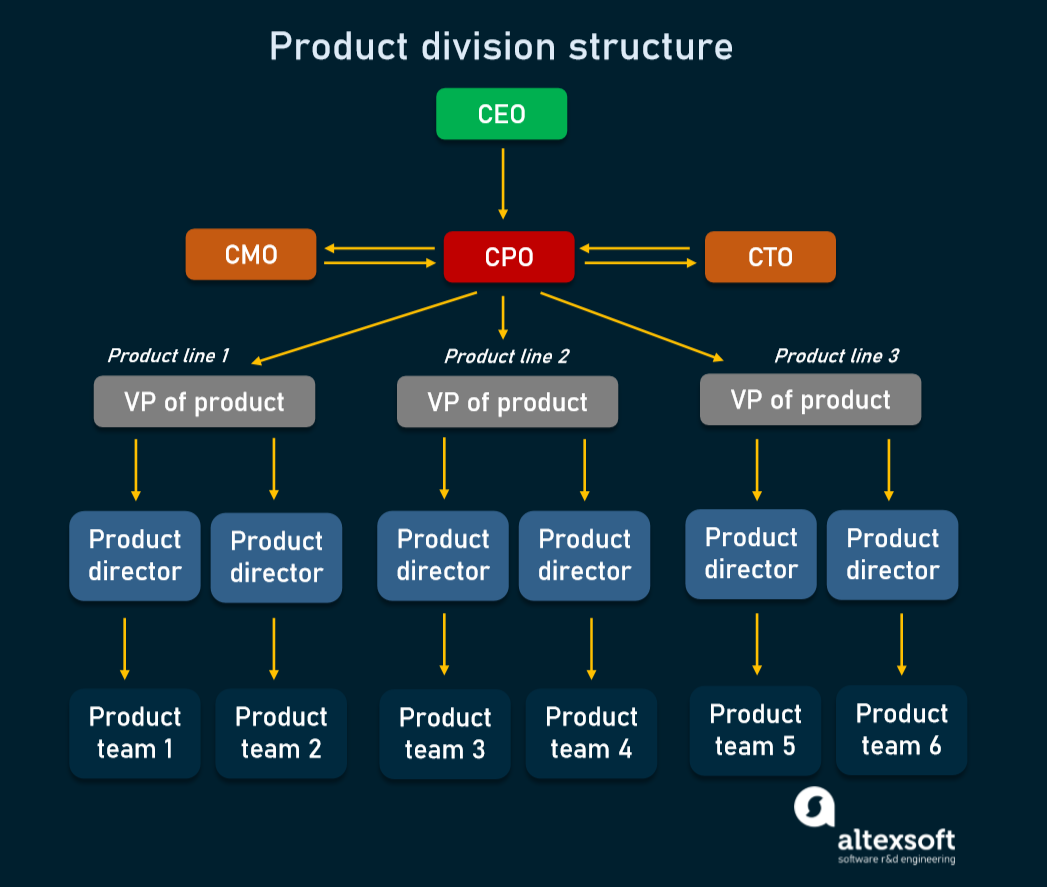 An example of a product division structure in a large company