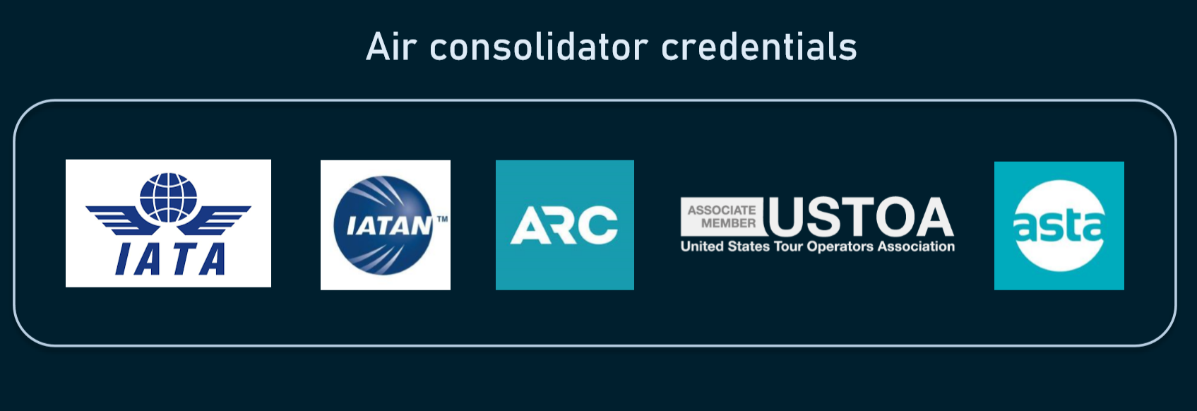 Certifications proving the credibility of a flight consolidator