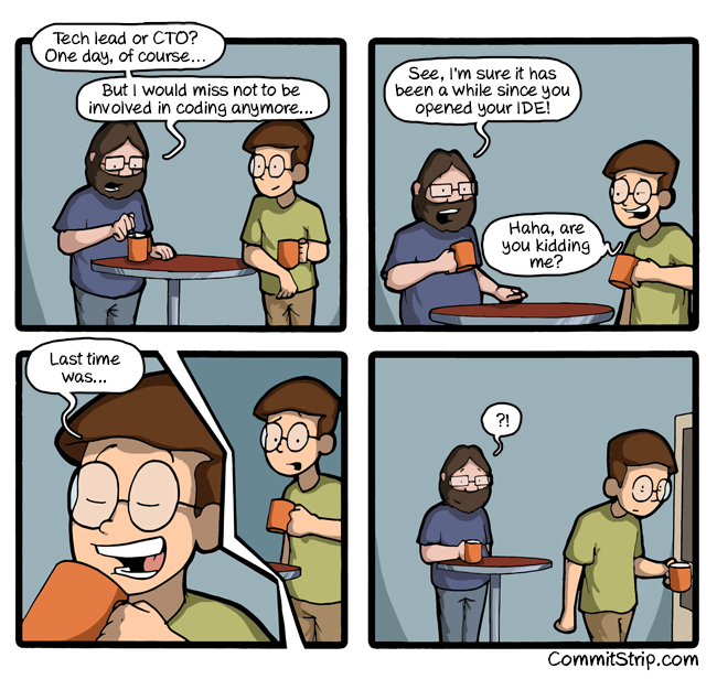 """Are you still a coder?"" by CommitStrip"