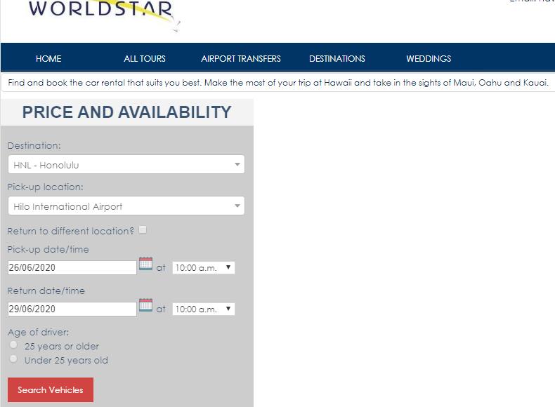 Car rental widget at Worldstar DMC