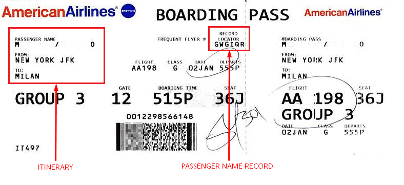 PNR example on a American Airlines ticket