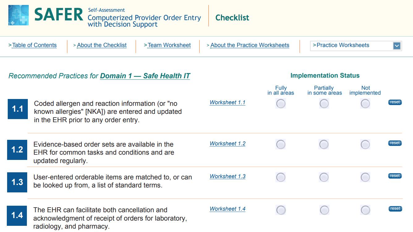 safer checklist