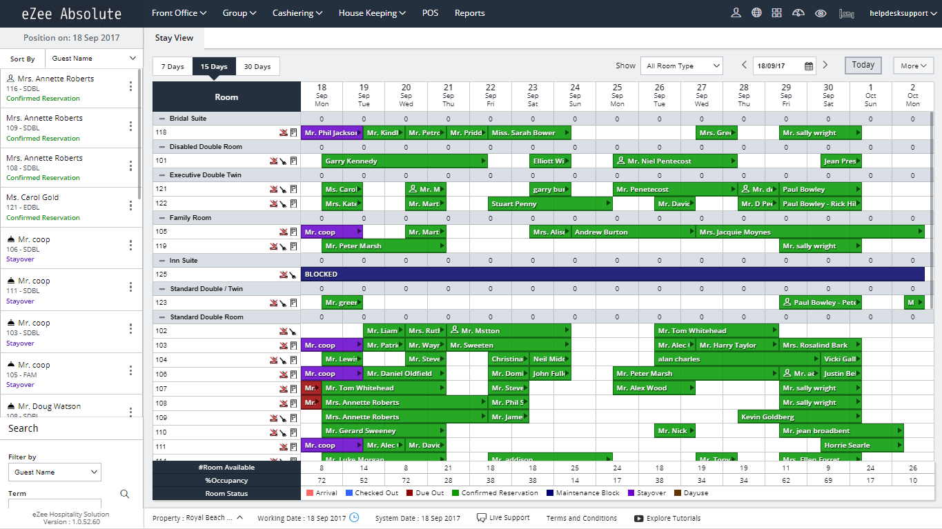 eZee stay overview dashboard