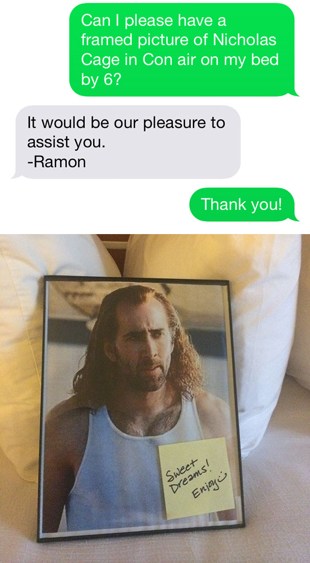 Meme with a guest asking for a Nicholas Page picture on his bed