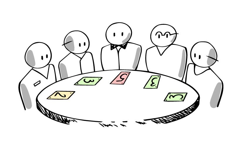 scrum-team-practicing-planning-poker
