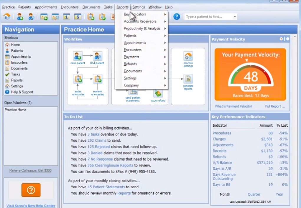 Kareo medical billing software tab with reports