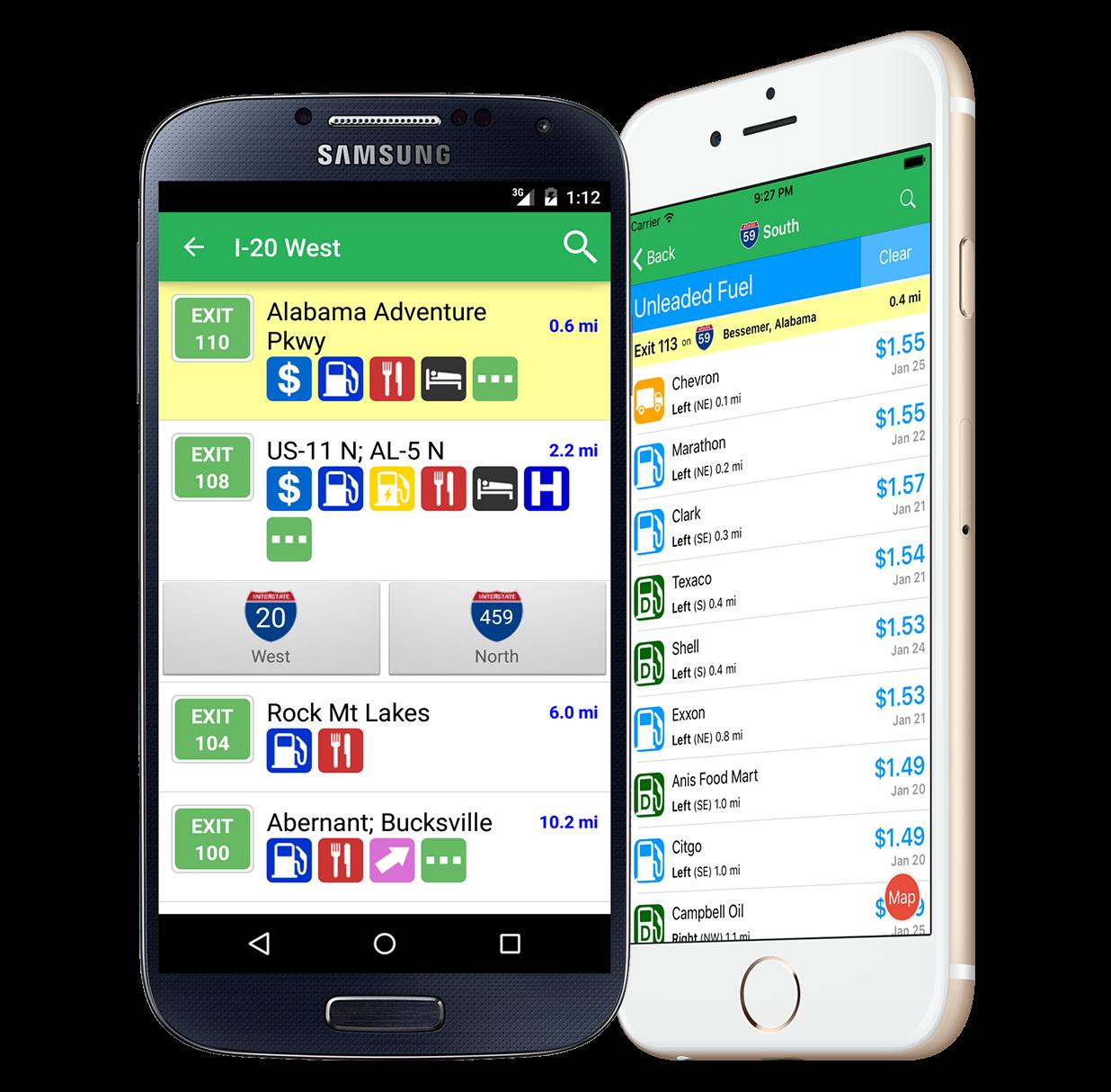 iExit app interface