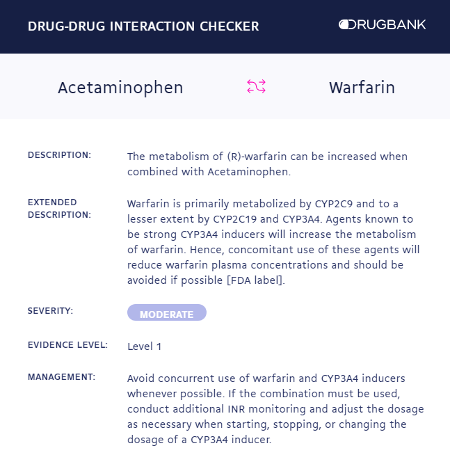 DrugBank interaction checker