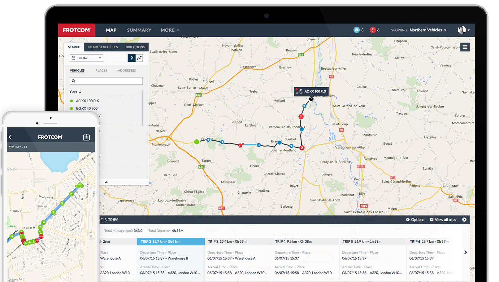 Frotcom GPS tracking desktop and mobile interface