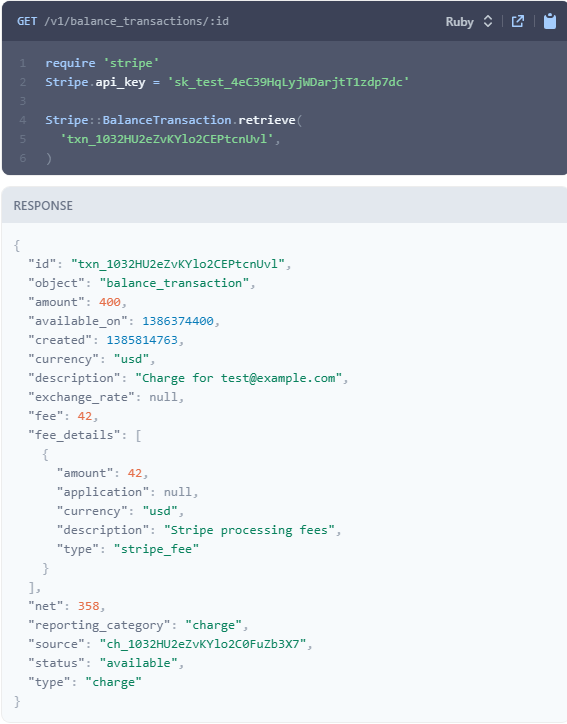 Stripe API request and response examples