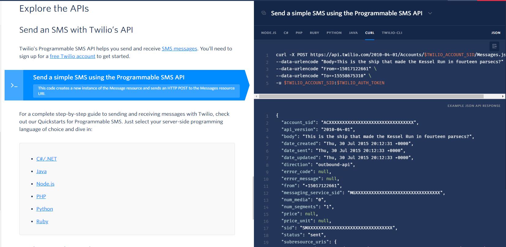 Twilio API documentation