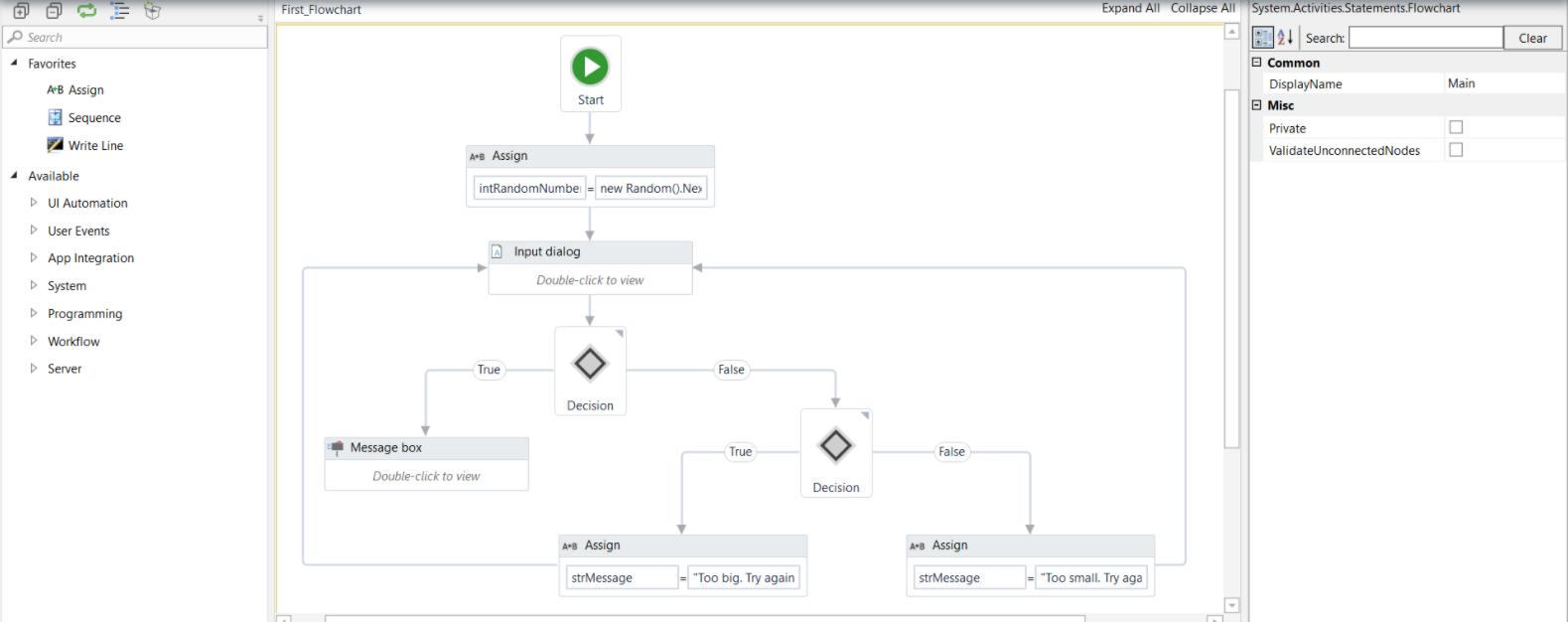 UIPath RPA bot flow control panel