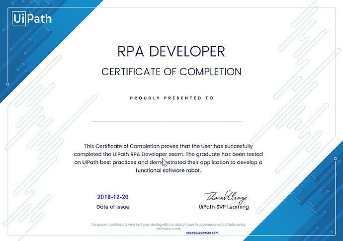 UIPath RPA developer certification