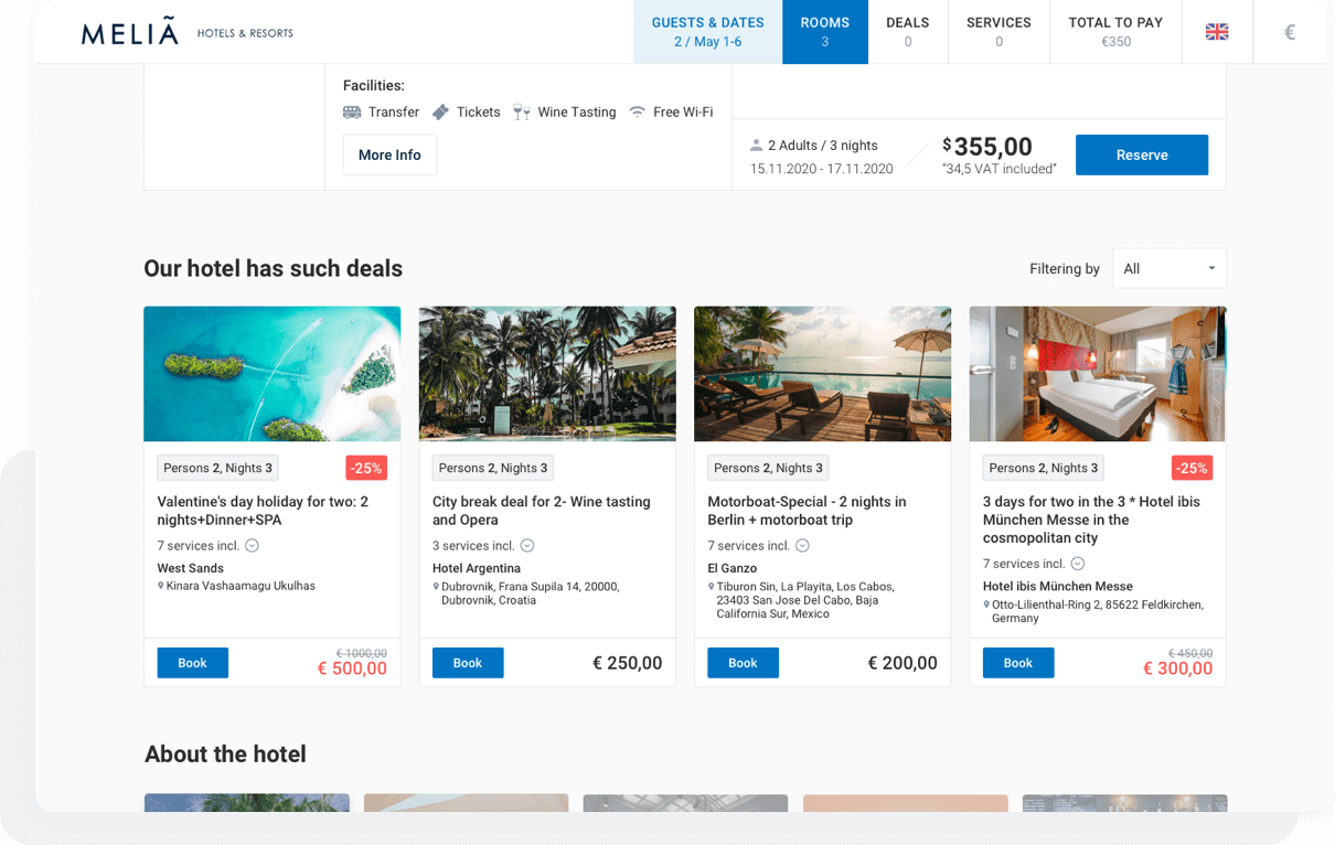 A section in the booking engine dedicated to deals