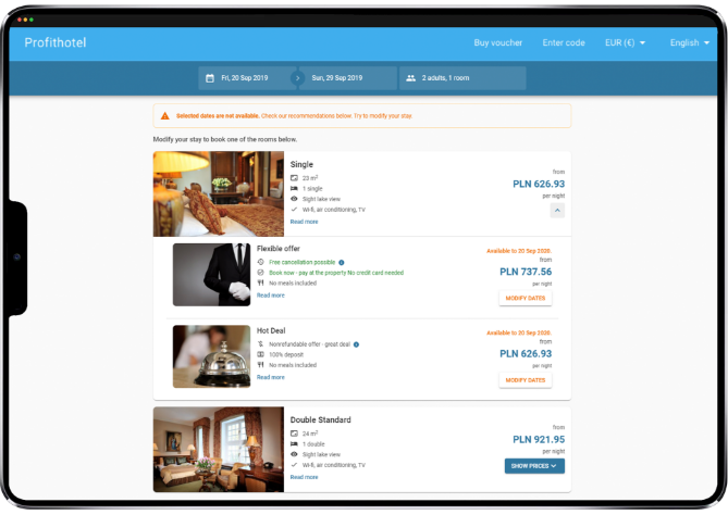 Profitroom incorporates deals into the search results