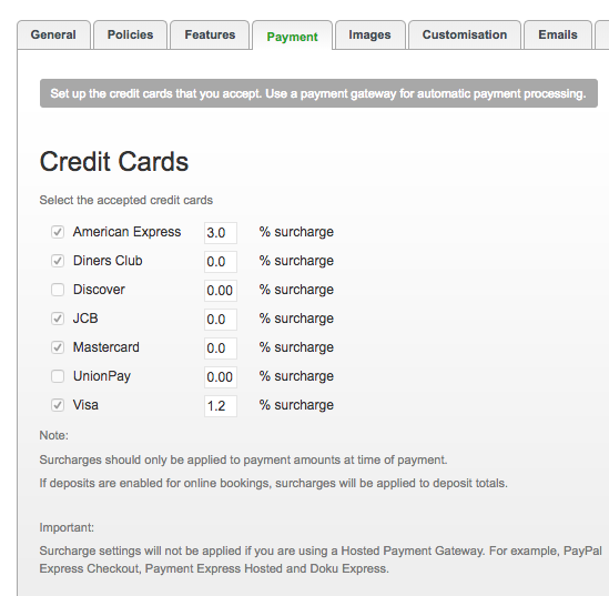 Setting up credit card surcharges
