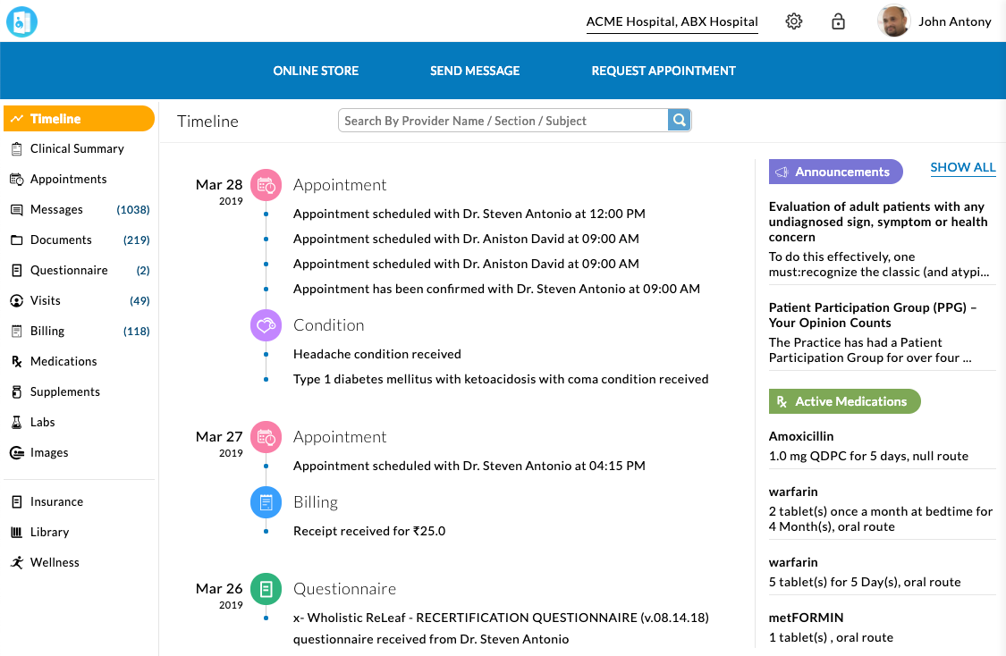 An example of a patient portal