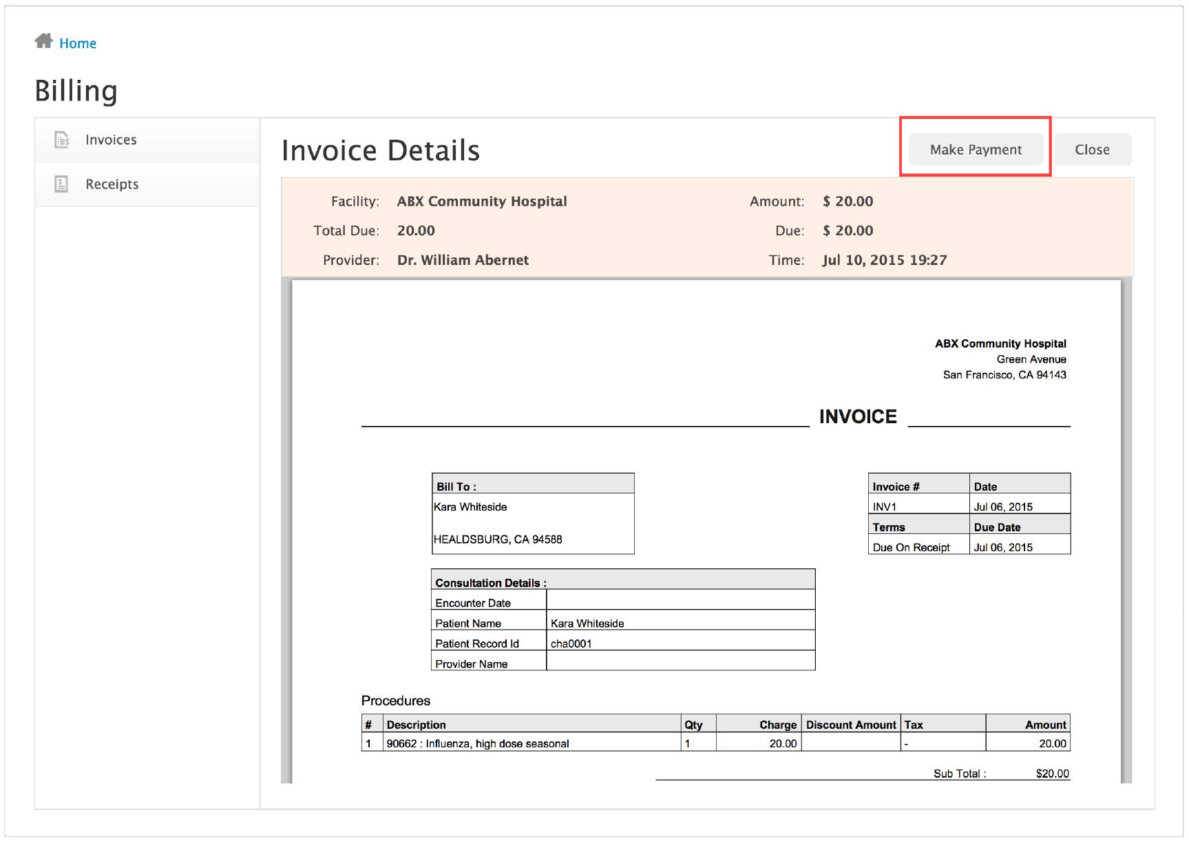 billing interface