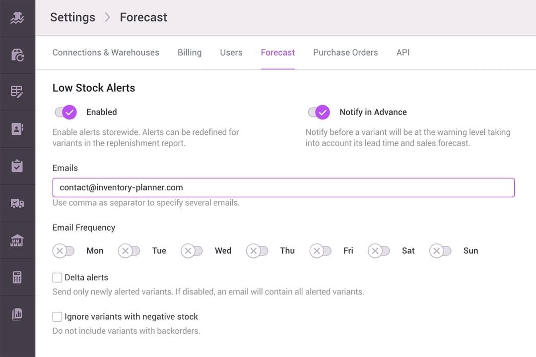 low stock alerts settings