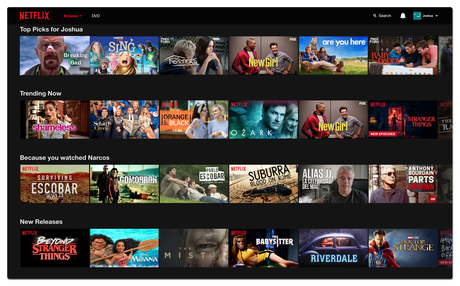 Personalized content playlists generated by Netflix recommendation algorithms