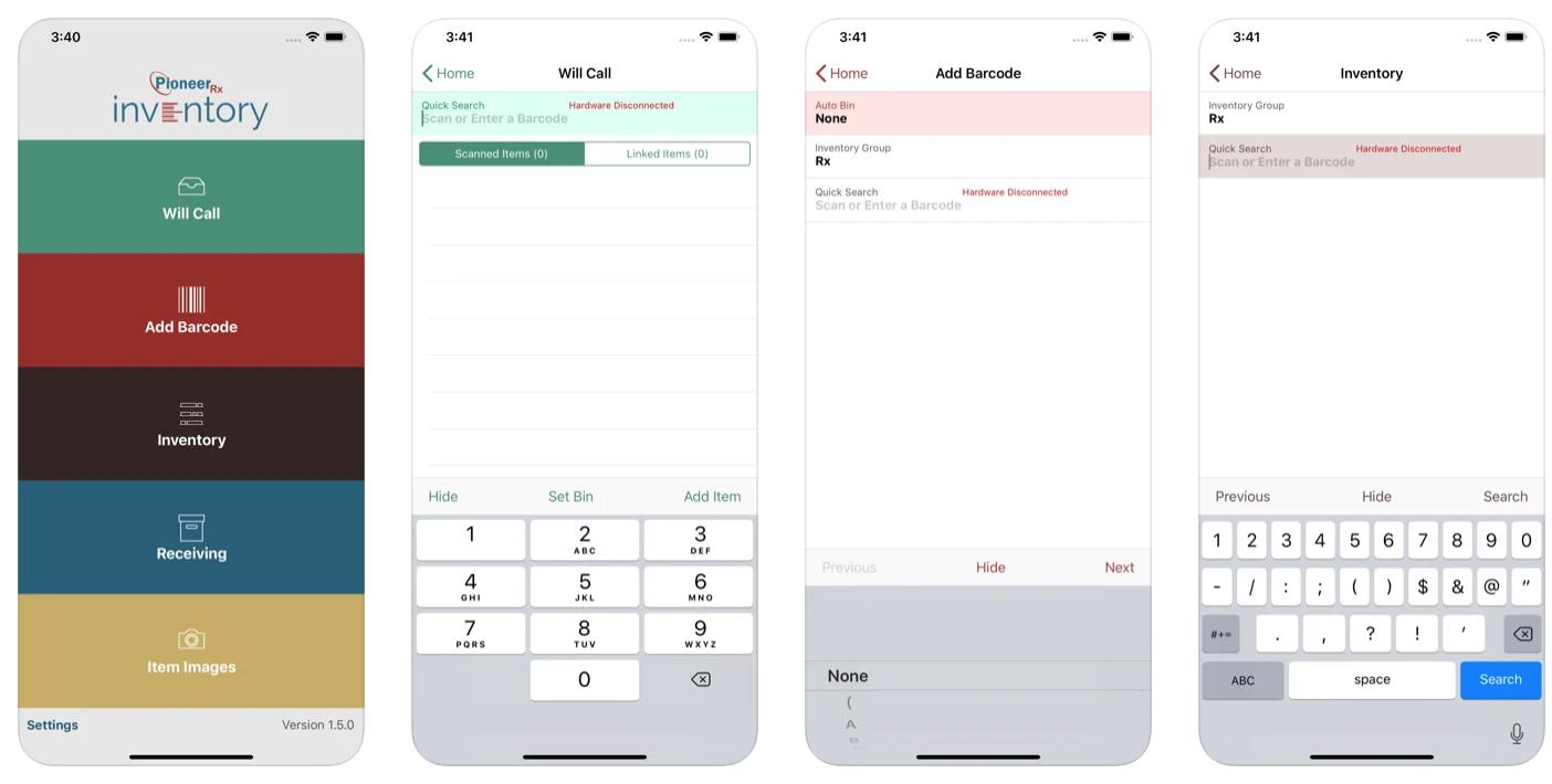 PioneerRx Mobile Inventory interface