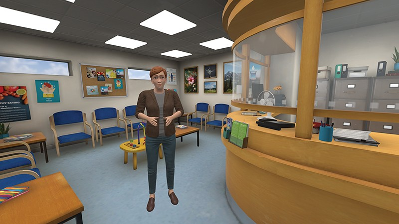 A shot from the gameChange VR system imitating the situation in a doctor's waiting room