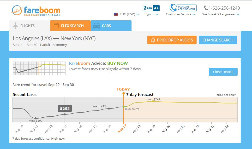 Fareboom price predictor
