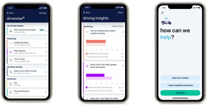 Allstate's Drivewise app monitors driver behavior.