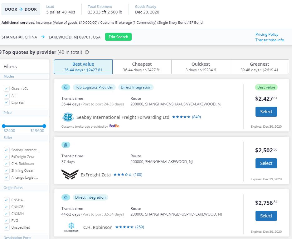 freightos marketplace interface