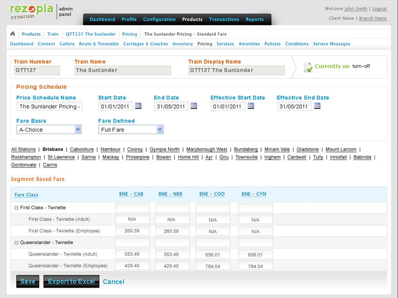 Pricing dashboard in Rezopia