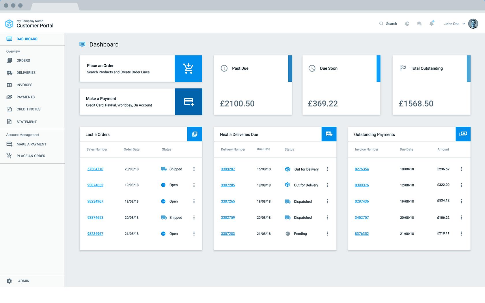 sample customer portal